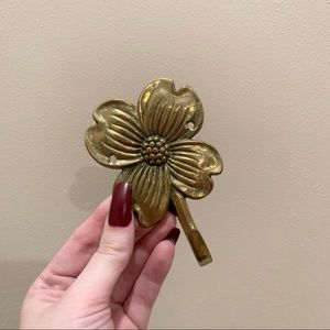 Vintage brass floral wall hook